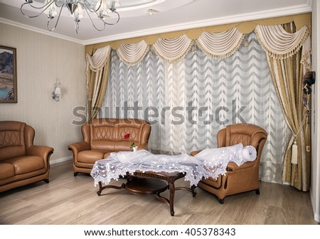 luxury curtains in the living room - stock photo