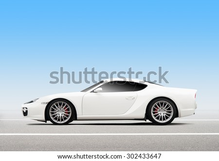 Luxury 3D white sports car - stock photo