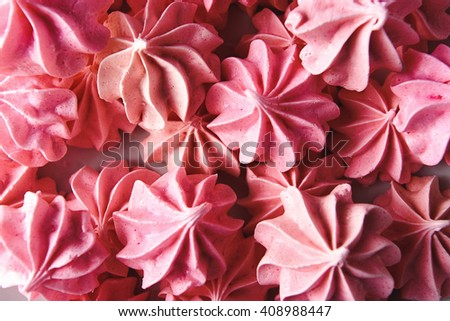 luxury delicious pink bizets at birthday celebration, delight dessert, catering party in a restaurant - stock photo