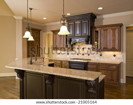 Luxury Diamond tile Kitchen front view - stock photo