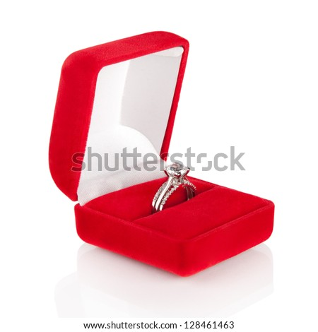 Luxury Diamond Wedding Ring in Red Velvet Silk Box using for Engagement for Love in Valentine Holiday Concept - stock photo
