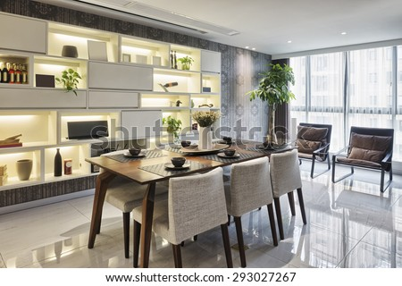 luxury dinning room interior - stock photo