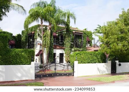 Luxury estate with trees - stock photo