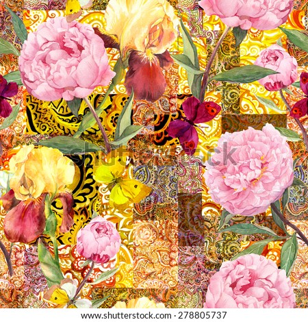 Luxury ethnic design for fashion. Flowers, butterflies and golden indian ornament. Watercolor seamless pattern - stock photo
