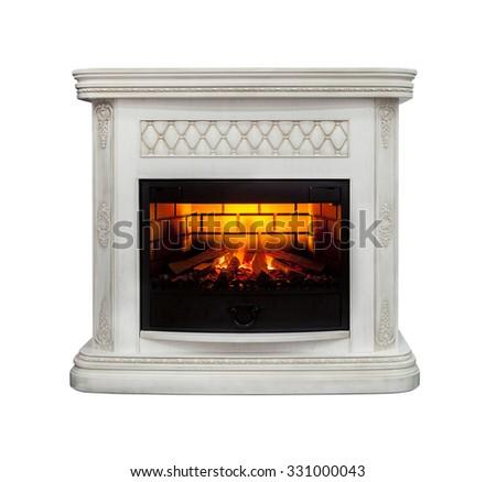 Luxury fireplace isolated on white background - stock photo