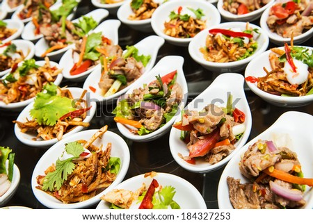 Luxury food and drinks on wedding table - stock photo
