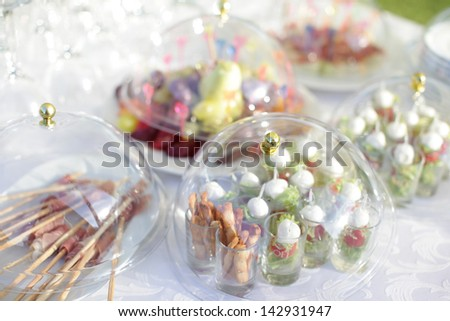 Luxury food and drinks on wedding table. Different sort of canape for a self service buffet - stock photo