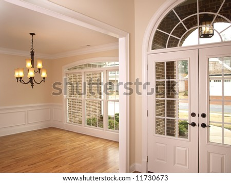 Luxury Foyer with Arched glass door - stock photo