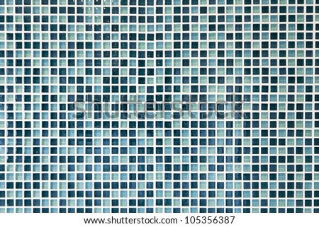 luxury glass mosaic tiles in shades of blue - stock photo