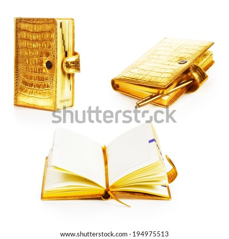 Luxury golden leather notebooks collection isolated on white background - stock photo