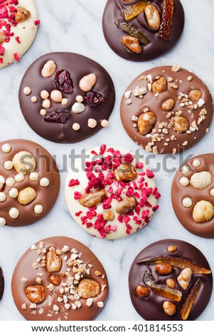 Luxury handmade chocolate mediants, cookies, bites, candies. Traditional french Christmas dessert Copy space Top view - stock photo