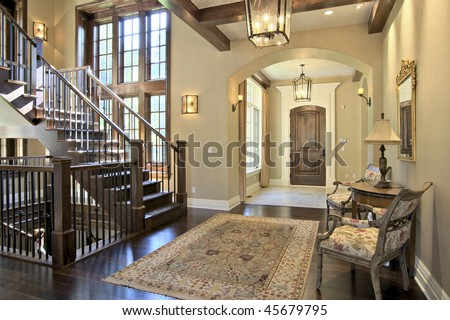 Luxury Home Entrance and Stairway - stock photo