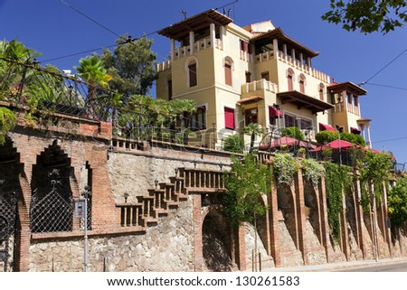 Luxury Home Exterior architectural in Barcelona, Spain - stock photo