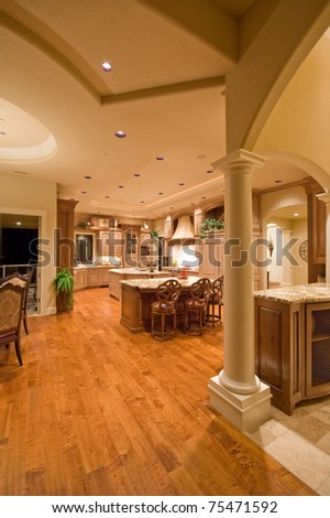 Luxury Home Interior with View of Kitchen - stock photo