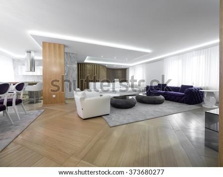 Luxury home living room - stock photo
