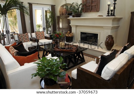 Luxury home living room with a fireplace. - stock photo