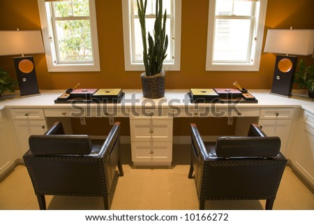Luxury home office for two. - stock photo
