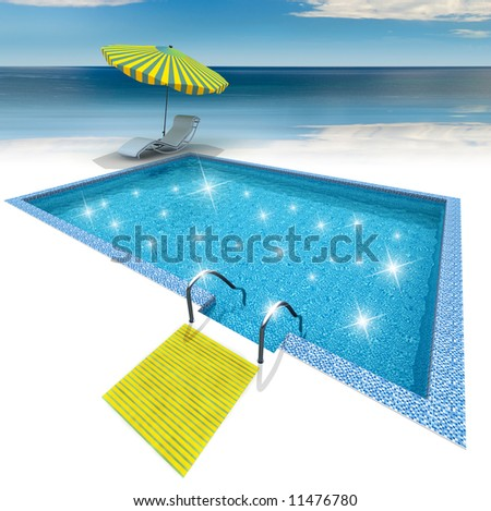 Luxury home swimming pool near the sea - stock photo