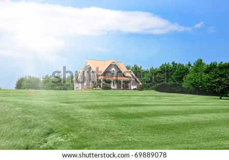 Luxury home with landscaped front yard in Summer - stock photo