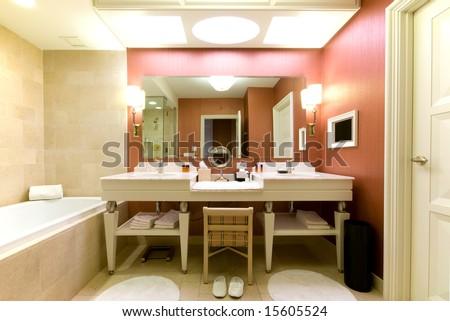 Luxury hotel bathroom - stock photo
