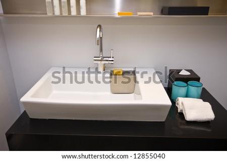Luxury hotel bathroom modern - stock photo