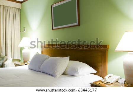 luxury hotel room suite bed Managua Nicaragua Central America - stock photo