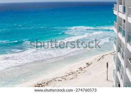Luxury hotel with  balcony, aerial view on caribbean sea 