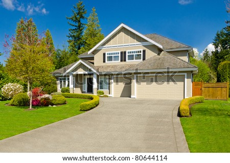 Luxury house in Vancouver, Canada at sunny day. - stock photo