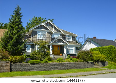 Luxury house on a sunny day in Vancouver, Canada. - stock photo