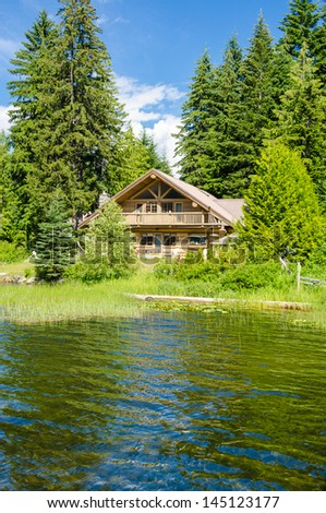 Luxury house over fantastic lake view at sunny day in Vancouver, Canada. - stock photo