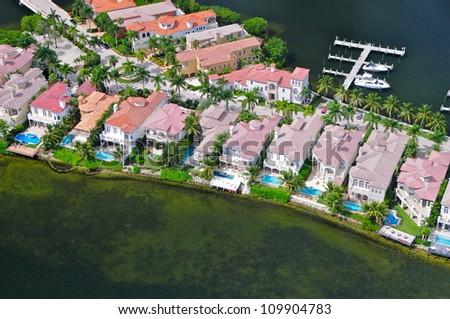 Luxury houses in Aventura, Florida, USA - stock photo