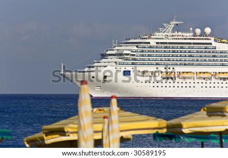 Luxury huge Cruise ship at Rhodes island, Greece - stock photo