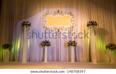 Luxury Indoors Wedding Stage Decorate - stock photo
