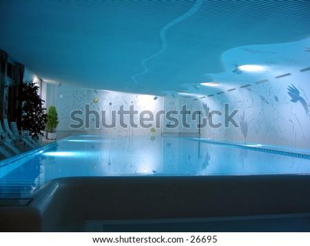 Luxury indor swimming pool in Hotel Bad Ragaz in Switzerland  - stock photo