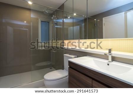 Luxury Interior bathroom - stock photo