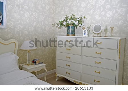 luxury interior of posh modern bedroom - stock photo