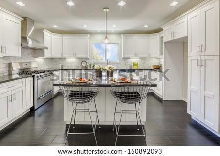 Luxury kitchen in an luxury house. - stock photo