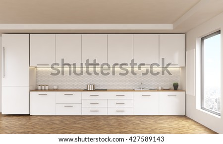 Luxury kitchen interior with white furniture, wooden floor and window with city view. 3D Rendering - stock photo