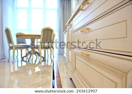 Luxury kitchen room in a light tone. - stock photo