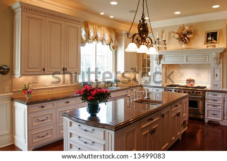 Luxury kitchen with granite counters. - stock photo