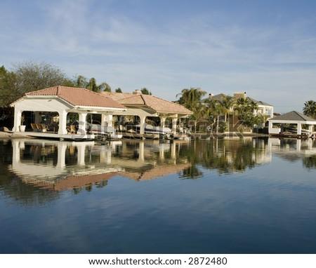 Luxury Lakeside Homes - stock photo