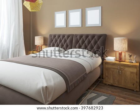 Luxury large modern double bed in the bedroom loft style. Bed linen in white and brown colors. Above the bed three mockup. On the sides are two bedside tables with lamps. 3D render. - stock photo