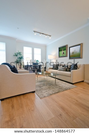 Luxury living, family room with the laminate floor and the rug. Interior design. - stock photo