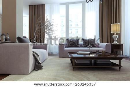 Luxury living room, dining room, art deco style. 3D render - stock photo