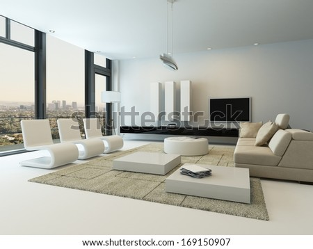 Luxury living room interior with huge windows - stock photo