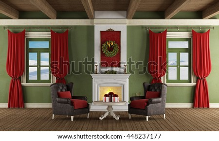 Luxury living room with fireplace, two leather armchair and christmas decoration - 3d rendering - stock photo