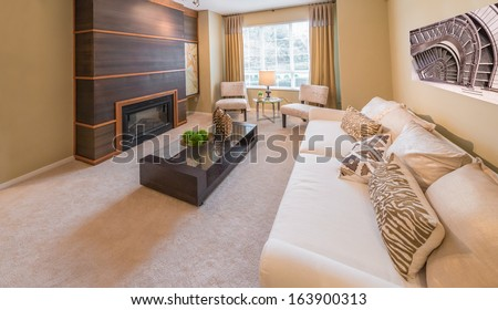 Luxury living room with sofa, couch, coffee table with decorative vases and the fireplace. Interior design. - stock photo