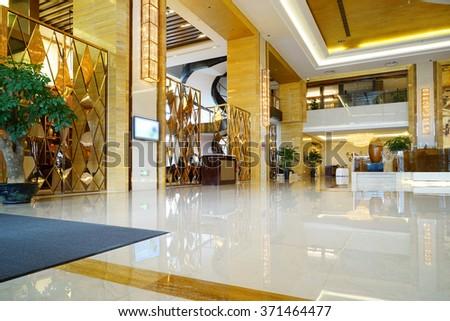 Luxury lobby lounge interior. - stock photo