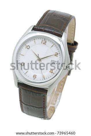 Luxury men wristwatch isolated on white background - stock photo