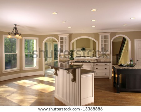 Luxury Model Home Kitchenette and windows - stock photo